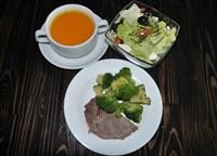 Комплекс №2 понедельник: Суп-пюре из тыквы, Капуста брокколи на пару,Говядина отварная,Салат с помидорами и моцареллой